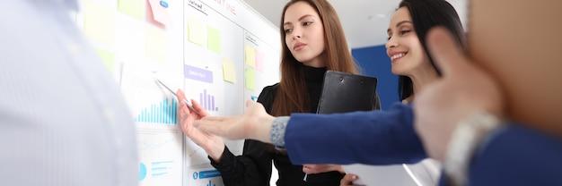 Gli impiegati di affari studiano le cifre di affari sul bordo bianco. concetto di sviluppo di piccole e medie imprese