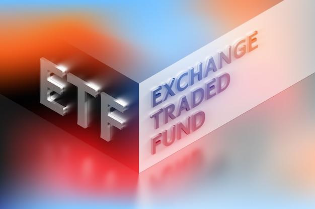Illustrazione finanziaria aziendale con l'abbreviazione etf in piedi per exchange traded fund disposto sull'angolo in colori blu rossi incandescenti. illustrazione 3d.