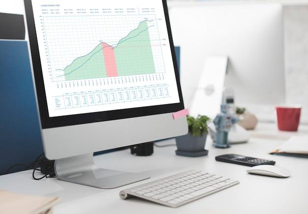 Concetto di presentazione dei dati delle misurazioni del grafico commerciale