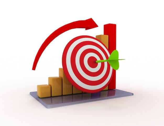 Grafico commerciale con freccia in aumento e bersaglio rosso