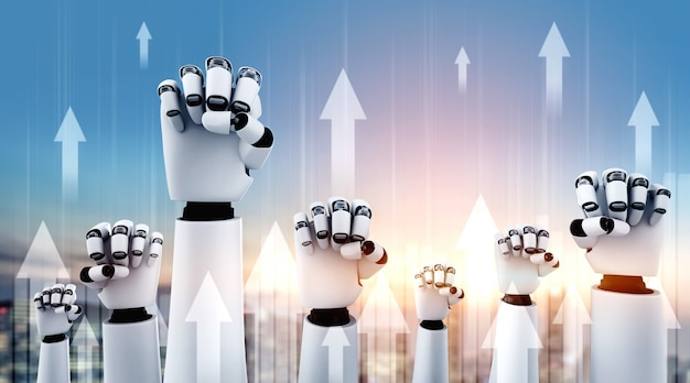 Concetto di crescita aziendale utilizzando robot ai e tecnologia di apprendimento automatico per analizzare i dati