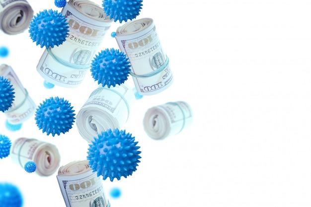 Hype di affari sul concetto di coronavirus. collage della foto dei rotoli della banconota in dollari e del volo delle miniature del coronavirus.