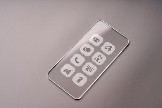 Icone di affari su vetro trasparente