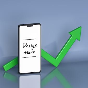 Crescita di affari e investimenti con lo schermo bianco dello smartphone e la freccia nel rendering 3d di sfondo