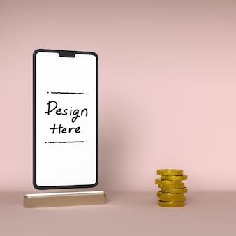 Crescita degli affari e degli investimenti con lo schermo bianco dello smartphone e la moneta nel rendering 3d in background