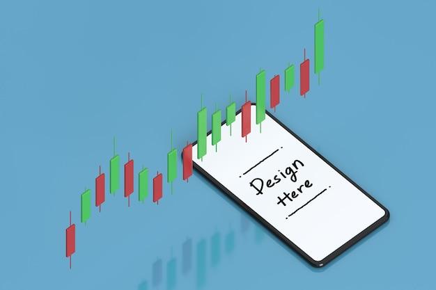 Crescita del business e degli investimenti con lo schermo bianco dello smartphone e il grafico in background 3d rendering