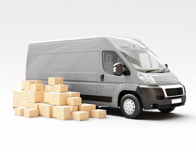 Concetto di logistica aziendale. tecnologia di connessione aziendale globale. scatole di cartone. illustrazione di rendering 3d
