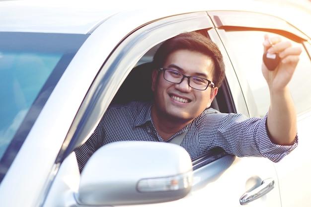 Mano dell'uomo di affari che tiene le chiavi dell'auto davanti con la nuova auto. parcheggio davanti casa. concetto di trasporto. lascia lo spazio della copia per scrivere il testo dei messaggi.