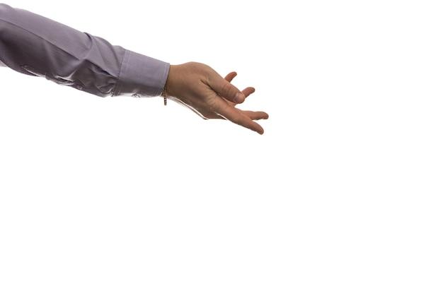 Insieme di gesto di mani dell'uomo di affari isolato su bianco con lo spazio della copia.
