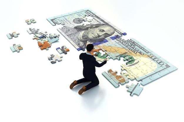 Uomo di affari che mette insieme un pezzo di puzzle del dollaro, rendering 3d