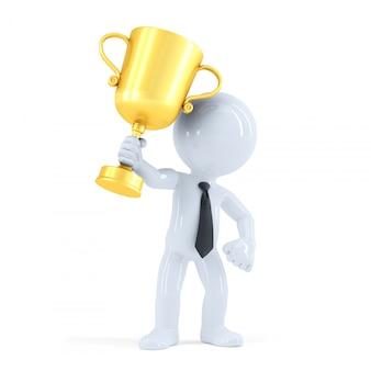 Uomo d'affari alzando il suo trofeo. concetto di affari. isolato. contiene il tracciato di ritaglio