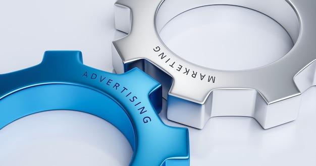 Attività di marketing di ruote dentate o concetto di connessione di lavoro di squadra e design creativo di ruote dentate su sfondo industriale con sistema di partnership di interazione pubblicitaria. rappresentazione 3d.
