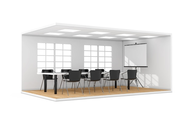 Interiore della sala riunioni d'affari con grande finestra, schermo di proiezione, tavolo, sedie e pavimento in parquet su sfondo bianco. rendering 3d