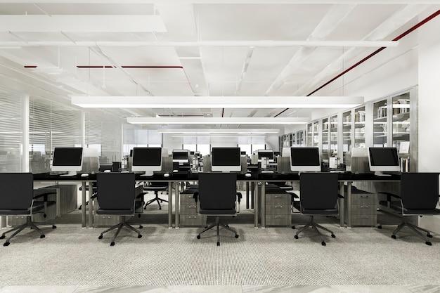 Incontro di lavoro e sala di lavoro in edificio per uffici