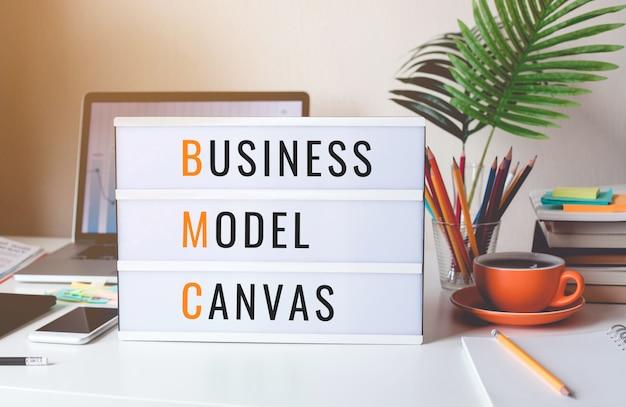 Concetti di business model canvas con testo su light box