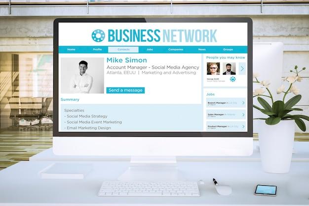 Computer dello schermo di rete aziendale in ufficio rendering 3d mockup