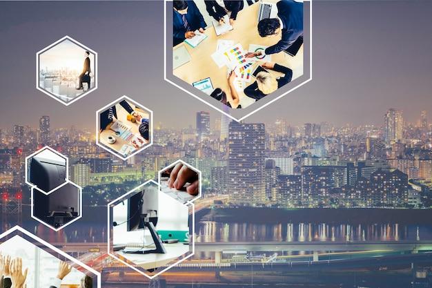 Foto di banner web di rete aziendale impostata nel concetto di gestione e crescita