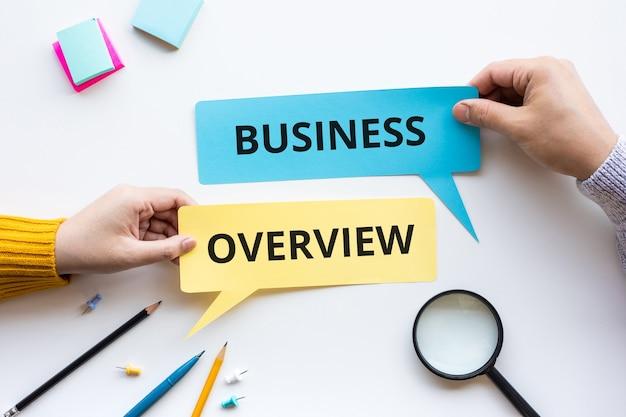 Panoramica aziendale o prospettiva degli obiettivi e dei concetti del piano