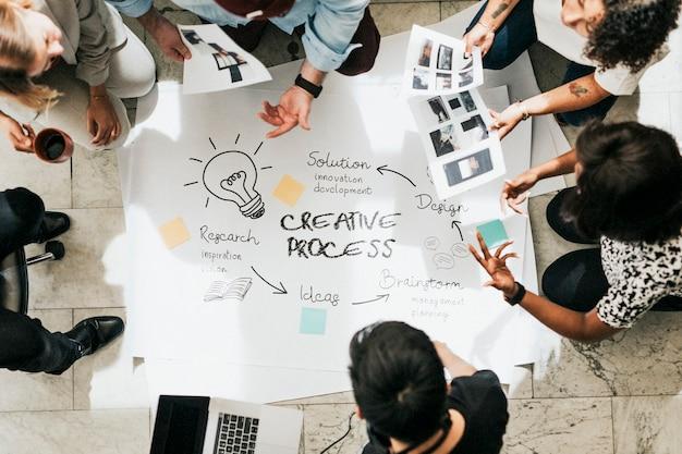 Processo di gestione di brainstorming di uomini d'affari su carta
