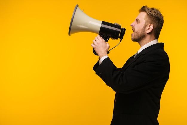 Affari, persone, comunicazione e concetto di annuncio pubblico