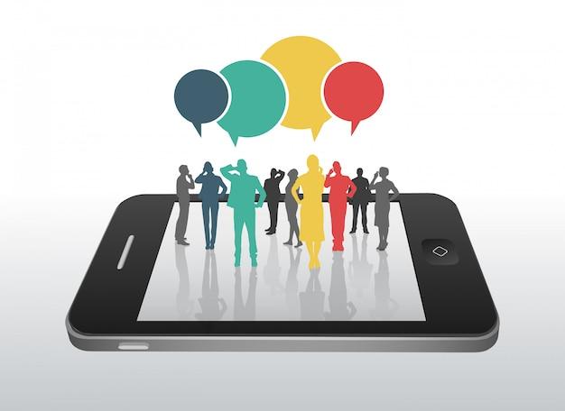 Gente di affari sullo smartphone con i fumetti