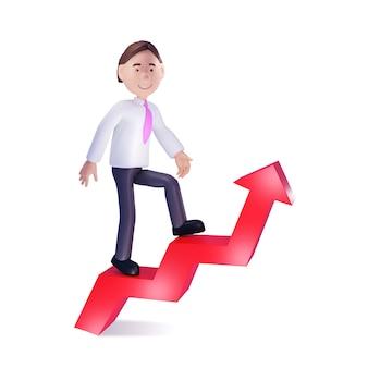 Uomo d'affari che scala sulla freccia rossa del grafico. rendering 3d