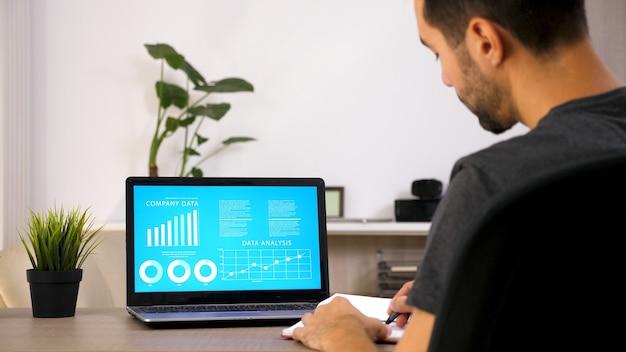 Uomo d'affari che lavora sul suo laptop guardando i dati del grafico nel suo soggiorno