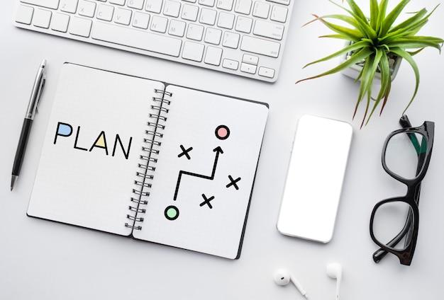 Concetti di analisi di business plan e strategia. laici piatta