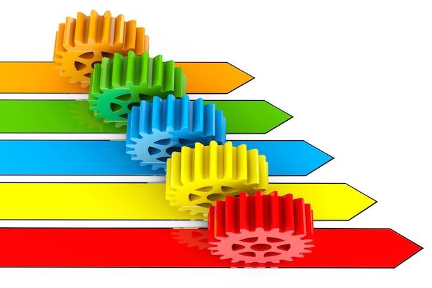 Concetto di processo aziendale. ingranaggi su frecce su sfondo bianco