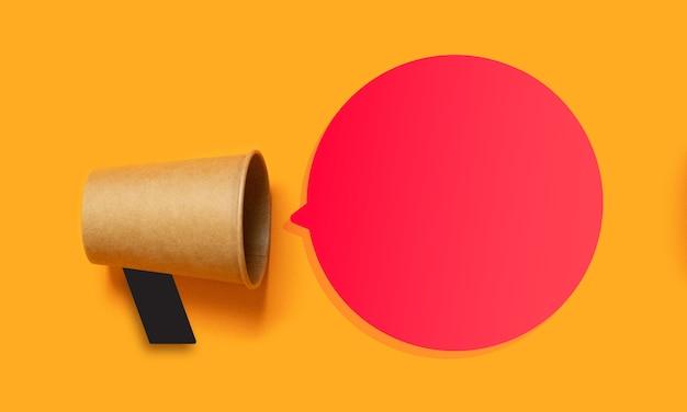 Promozione aziendale, concetto di pubblicità con un boccaglio e spazio vuoto per il testo