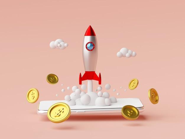 Concetto di avvio aziendale lancio di razzi da smartphone con rendering 3d moneta da un dollaro