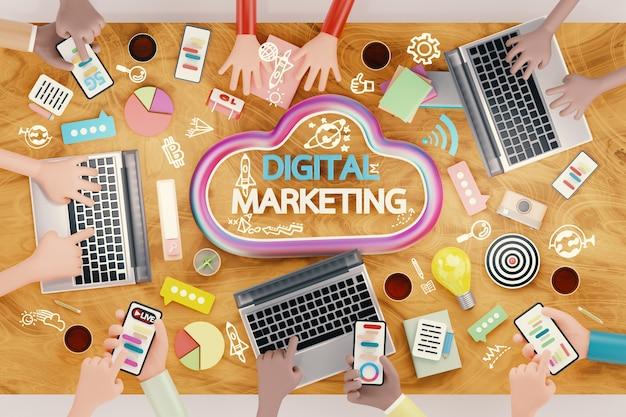 Analisi di brainstorming del team aziendale del mercato online. tecnologia di marketing digitale, concetto di business online, pubblicità digitale tramite social media. illustrazione 3d