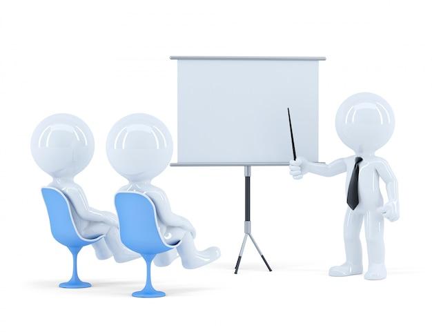 Squadra di affari alla presentazione. isolato. contiene il tracciato di ritaglio della scena e la scheda di presentazione. illustrazione 3d