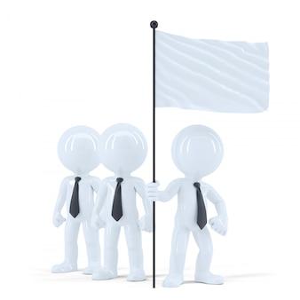 Squadra di affari con bandiera bianca. isolato