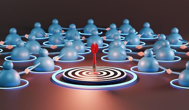 Squadra di affari con le frecce rosse che raggiungono l'obiettivo centrale. concetto di affari di successo. rendering 3d
