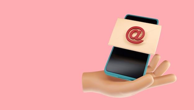 Business, tecnologia, internet e concetto di rete. messaggio e-mail. chat online di comunicazione di posta. illustrazione 3d
