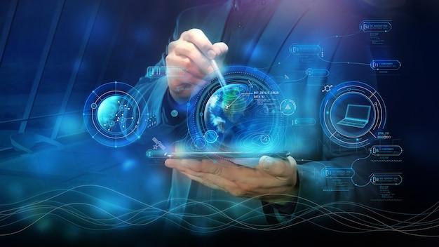 Elementi di infografica virtuale aziendale e ologramma terrestre.