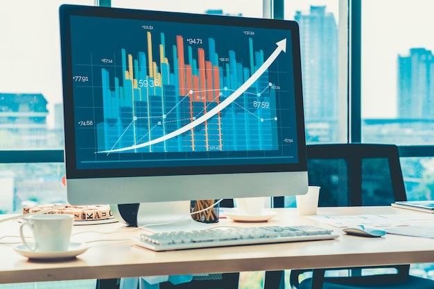 Tecnologia di analisi dei dati visivi aziendali tramite software per computer creativo