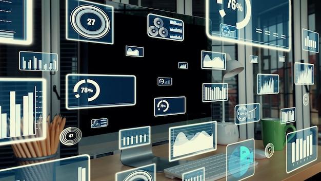 Tecnologia di analisi dei dati visivi aziendali tramite software creativo computer
