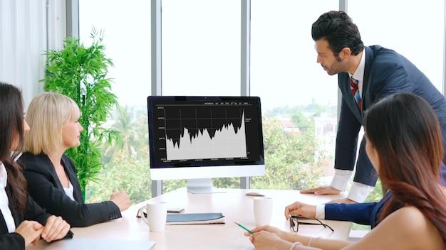 Dati visivi aziendali che analizzano la tecnologia dal software per computer creativo