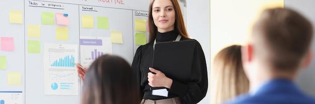 La donna di affari conduce il seminario di affari per i dipendenti dell'azienda