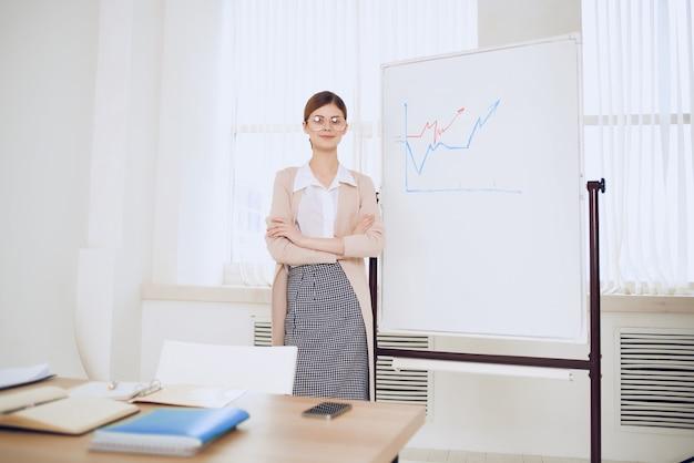 Donna d'affari nella presentazione del programma di lavoro d'ufficio