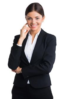 Ritratto dello studio della donna di affari. isolato su sfondo bianco.