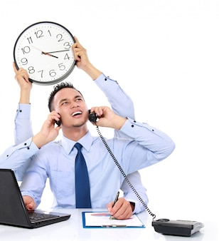 Multitasking occupato uomo d'affari