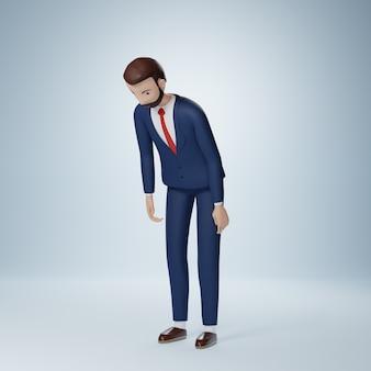 Il personaggio dei cartoni animati dell'uomo d'affari si scusa posa isolata