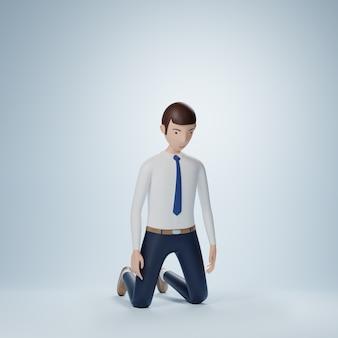 Posa in ginocchio del personaggio dei cartoni animati dell'uomo d'affari isolata