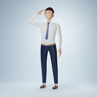 Sguardo del personaggio dei cartoni animati dell'uomo d'affari e posa di ricerca isolata