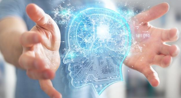 Uomo d'affari che crea intelligenza artificiale