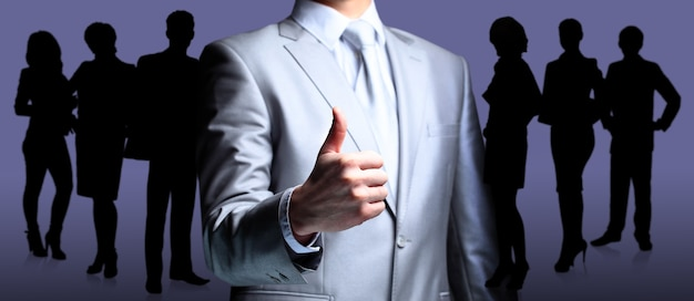 L'uomo d'affari, un gesto, un dito.
