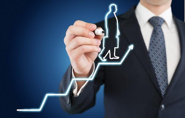 Uomo d'affari e linea in crescita, simboleggiano le competenze in crescita